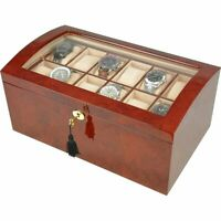 Large Laminated Makah Burlwood 24 Watch Collectors Box with Glass Top