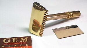GEM MICROMATIC 1930's Open Comb Single Edge Safety Razor, Brass - Restored