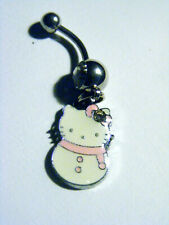 Navel Ring 14G Surgical Steel Hello Kitty Snow Kitty Belly Ring
