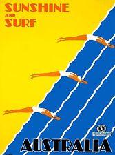Sunshine & Surf Australia Vintage Australian Travel Advertisement Art Poster