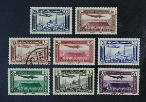 CKStamps: Syria Stamps Collection Scott#C80-C87 Mint 6H OG 2 Used Thin