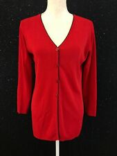 Carducci Cardigan Womens Sz M Bright Red Rayon Long V Neck Button Down Sweater
