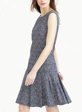 J.Crew Sleeveless Palm Print Chambray Blue Pleat Drop Waist Dress Size 6T 6 Tall