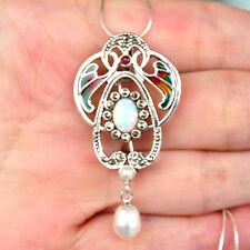 #P390 Pendentif Broche Style Art Déco Argent Massif 925 Perle & Opale