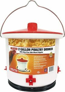 FARM INNOVATORS HEATED CHICKEN BIRD POULTRY WATER BOWL FOUNTAIN 2 GALLON