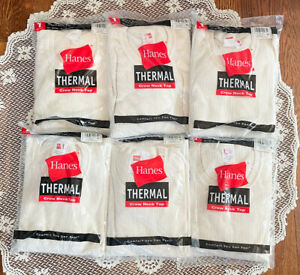 Lot of 6 Men's Vintage Hanes Thermal Crew Neck Deadstock Waffle Knit Size XL