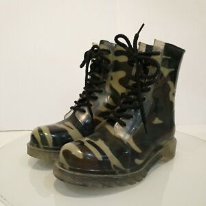 Dirty Laundry Rain Jelly Rubber Camo Boots Women Size US 8 Ankle Calf Combat