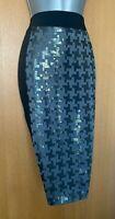 Karen Millen UK 12 Black Metallic Grey Office Work Knee Length Pencil Skirt EU40