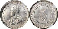 1926 Silver Small Coin 5 Cents Straits Settlement Malaya George V England MS 66