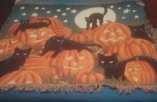 Black cat Pumpkin Throw Blanket