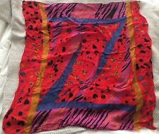 Vintage Liz Claiborne Multicolor Wild Loud Animal Print Square Scarf Kerchief!