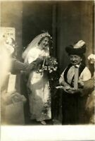 Portrait bride wedding day RPPC postcard antique photograph adorable cute