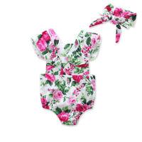 Newborn Baby Girl Floral Romper Bodysuit Jumpsuit Outfits Sunsuit + Headband