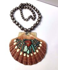 HUGE! Indian Old Pawn Sterling Silver Turquoise Coral Shell Pendant Necklace