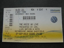 THE VOICE SHEFFIELD  27/09/2012 TICKET UNUSED