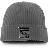 New York Rangers Fanatics Branded Blackout Cuffed Knit Hat - Gray