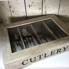 Gisela Graham Natural Whitewashed Wood Cutlery Tray Rack Holder Storage