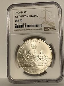 1996-D Olympics - Rowing Commemorative Silver Dollar $1 NGC MS70