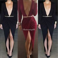 Women's Sexy Deep V Neck Split Bodycon Cocktail Party Maxi Dress High slit C1MY