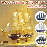 LED DIY Black Pearl Wooden Ship Kit Assembly Model Sailing Boat Decor Xmas Gift
