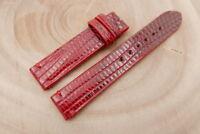 18mm/18mm Red Genuine Lizard Skin Leather Watch Strap Band Handmade
