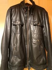 Mens Hugo Boss Orange Leather Jacket Uk 56 Black Joetze Biker Good condition