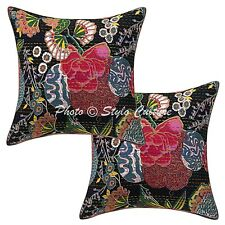 Ethnic Cotton Tropicana Black 16 Inch Kantha Embroidered Throw Pillow Covers