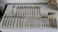 37 Pieces Vintage Flatware Marked Stainless Steel Japan with Single Flower Rose