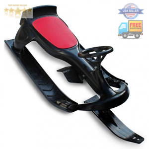 Flexible Flyer PT Blaster plastic sled with steering wheel - Black/Red