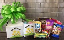 Get Well Soon Gift Box-Basket Wrapped With Neon Green Bow-Card-Snacks-Candy
