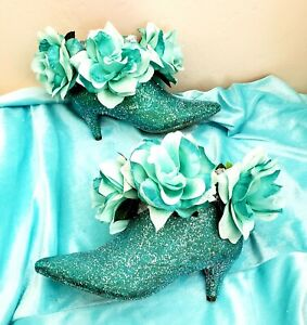 JASMINE TIFFANY BLUE GLITTER ROSE BRIDAL WEDDING ANKLE BOOTIE PARTY CLUB COSTUME