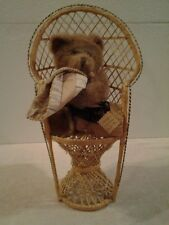 "16"" Antique mini wicker rattan peacock fan back chair + 8"" Montreal quilt bear"