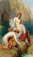 Oil painting Herbert James Draper - Naked young girls by Summer sea in sunset