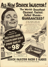 1950 vintage AD, Schick Injector Razor and Blades, Gold Plated !  -112113