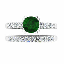 Natural 1.00 Ct Round Cut Diamond Emerald Ring 14K White Gold Gemstone Ring 1107