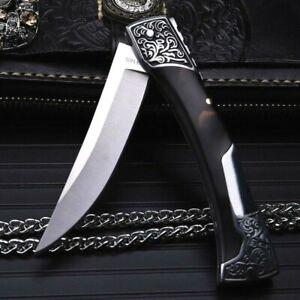 Straightback Folding Knife Pocket Hunting Survival Chrome Steel Resin Handle EDC