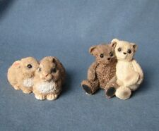 2 double collectable Stone Critters figurines/ornaments - Rabbits & Teddy Bears
