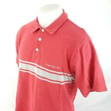 Tommy Jeans Mens Polo Rugby Shirt Sz Large S/S Red Spell Out Striped A28-05