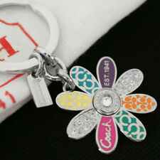 COACH Multi Legacy Daisy Flower Signature Pave Crystal Keychain Key ring FOB NEW