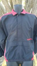Umbro Adult Small Jacket Windbreaker Black and Red Overhead Jacket Pocket Pouch