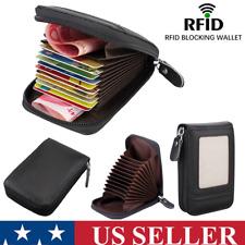 Men Wallet Genuine Leather ID Credit Card Holder RFID Blocking Zipper Purse US