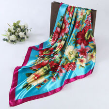 Womens Fashion Floral Printed Square Scarf Head Wrap Kerchief Neck Satin Shawl