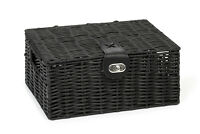Hamper Storage Basket Black Small Resin Woven Box With Lid & Lock