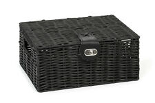Hamper Storage Basket Black Small Resin Woven Box With Lid & Lock