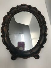 "Coppercraft Guild 1943 Mirror Framed Hanging /Vanity Oval Ornate 12""x10"""
