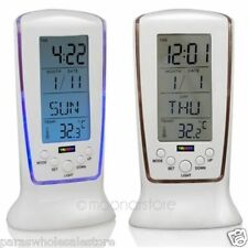 Square LCD Multifunctional Digital Clock Calendar Alarm Thermometer DS-510 White