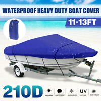 11-13FT Heavy Duty Boat Cover For V-Hull Speedboat Ski Sport Waterproof Blue