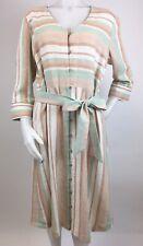 Soft Surroundings Size Large Linen Rayon Striped Dress Curved Hem