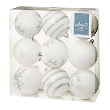 Christmas Tree Decoration - 9 Pack 80mm Baubles - White