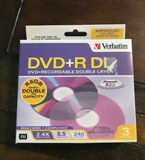 Verbatim DVD+R DL 8.5 GB 3 Pack Double Layer Recordable Disc SEALED